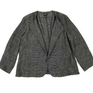 Eileen Fisher Open Front Linen Blend Jacket Sz L